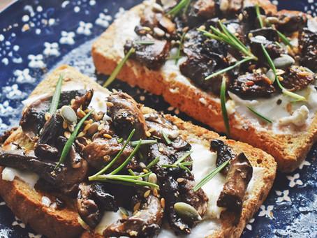 Vegan Cream Cheese And Garlic Mushrooms On Toast