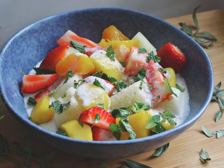 Fruit Salad With Thai Herb Infused Coconut Sauce