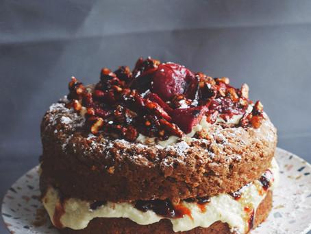 Amaretto Plum And Almond Cake (Vegan)