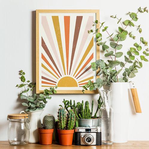 Retro Sunburst Print