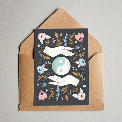 Balance Floral Moon Card