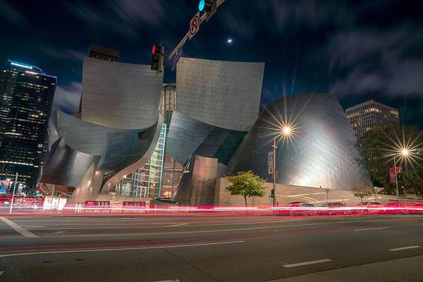 Walt Disney Hall at Night in Downtown Los Angeles