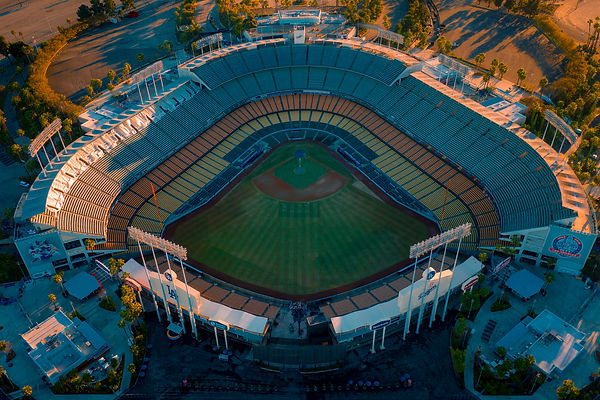 Aerial View above Dodger Stadium in Los Angeles