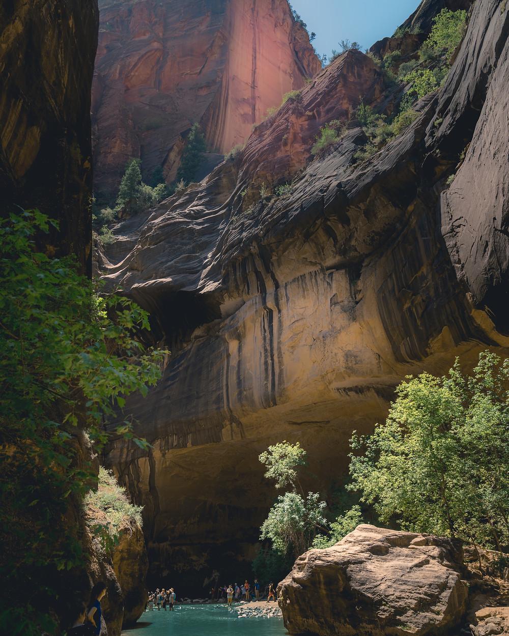 Slot canyons of the narrows hike in Utah