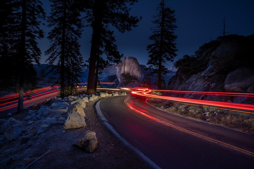 Light Trail Long Exposure at Glacier Point Road Yosemite National Park