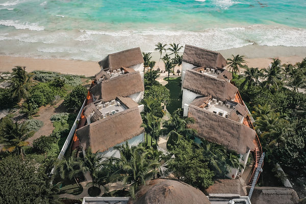 Aerial View over a Tulum Resort