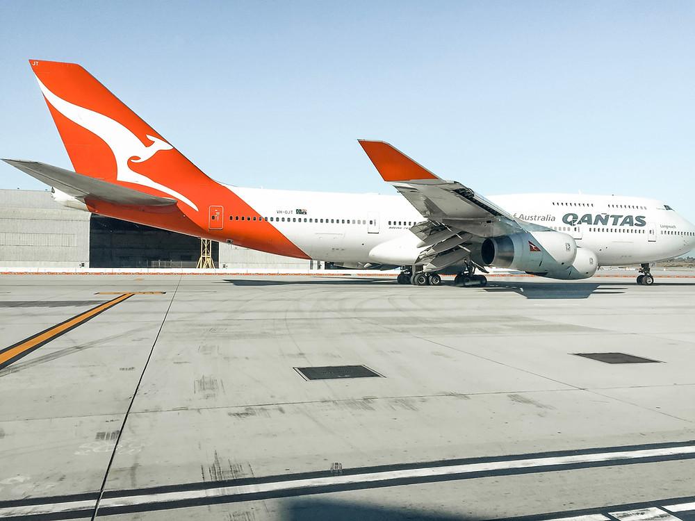 Qantas Boeing 747 at LAX on tarmac