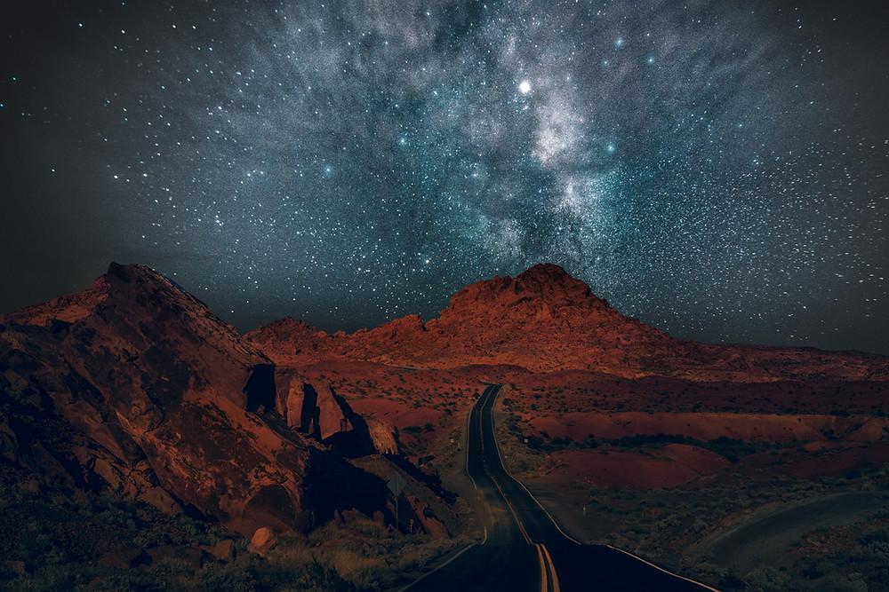 Milky Way stars over the desert road