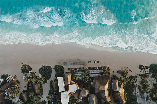 Aerial View over a Junge Resort on the Tulum Beac