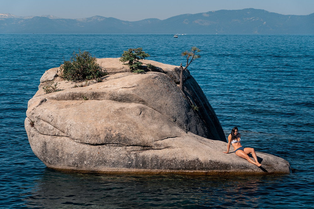 Bikini babe soaking up the sun at Bonsai Rock in Lake Tahoe