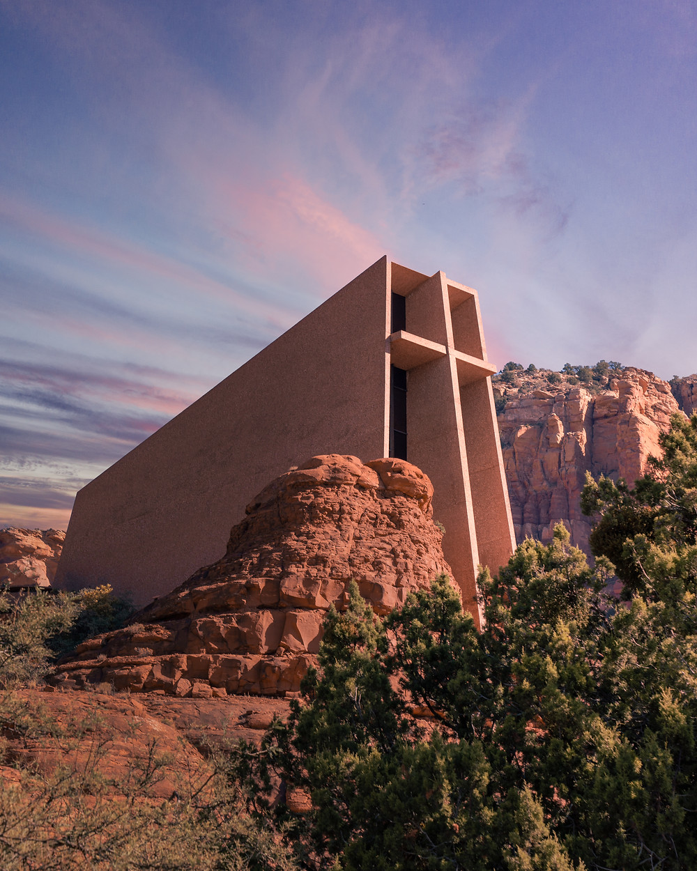 View of the church of the holy cross in the Sedona sunset