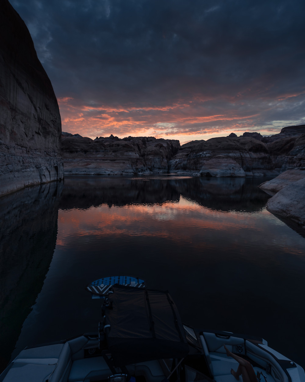 sunset reflections in rock canyons