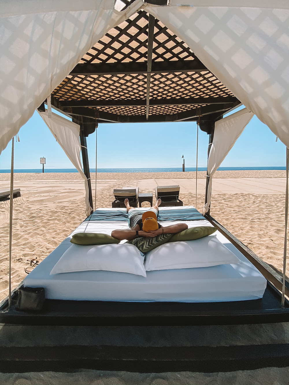 Lounging in a cabana at a pristine Mexican beach