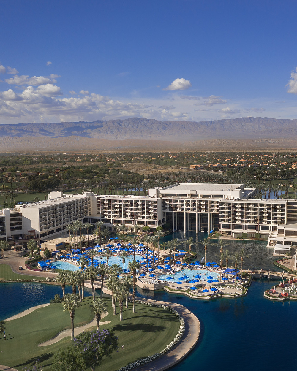 Aerial view of the pool and golf course at the JW Marriott Desert Springs in Palm Springs California