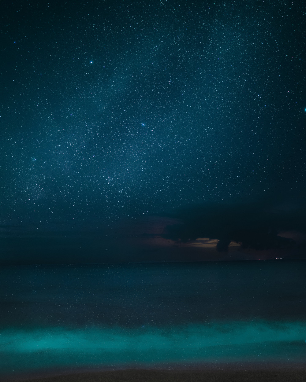 milky way and stars at a beach in Hawaii