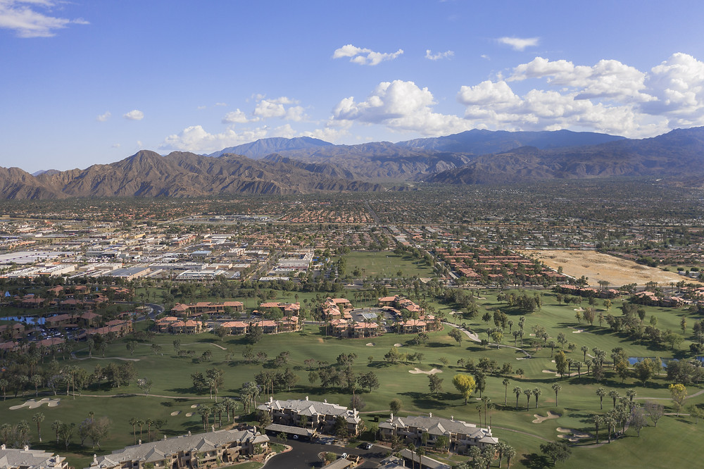 Aerial View of Palm Springs golf courses, hotels, and mountains