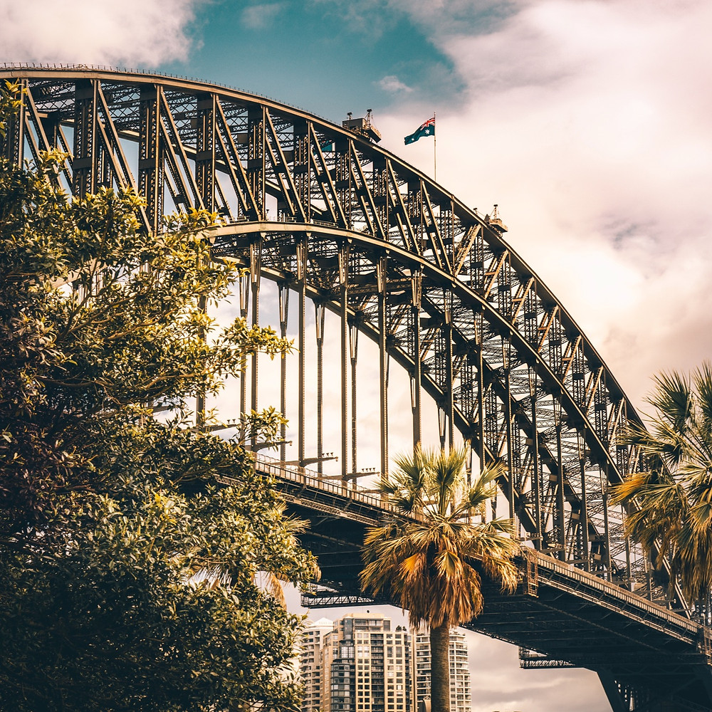 View of the Sydney Harbor Bridge from below