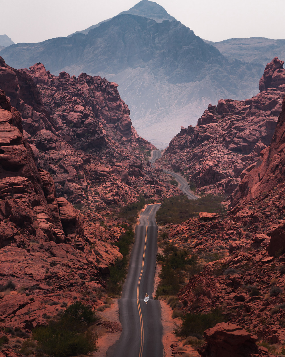iconic road through the rocky desert mountains of the valley of fire