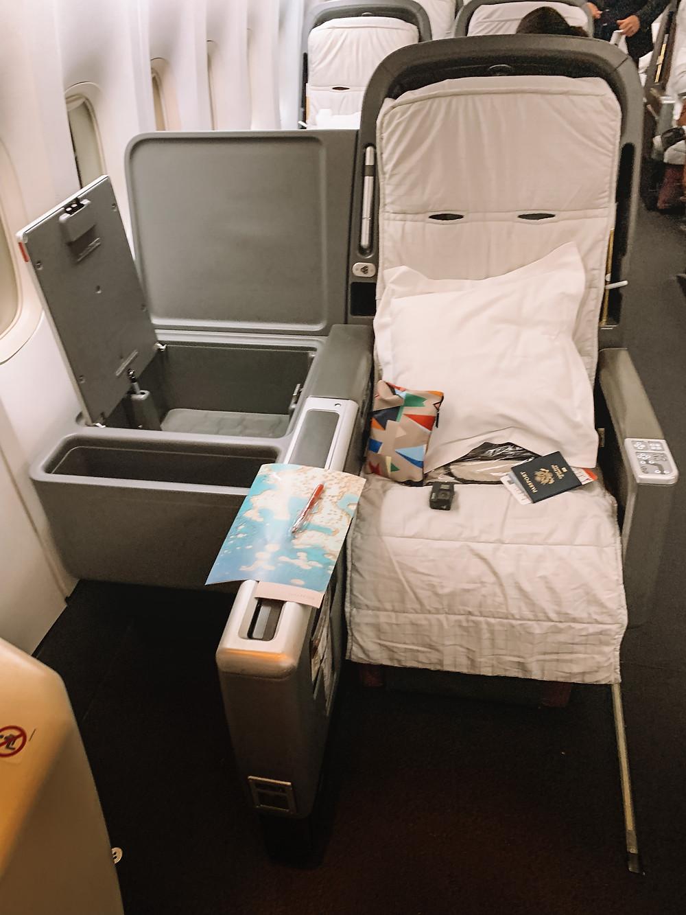 Qantas full flat business class seat to Australia
