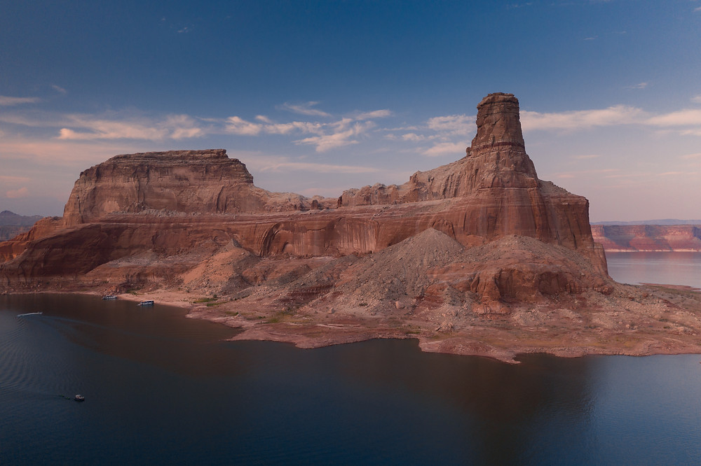 aerial view of gunsight canyon Lake Powell