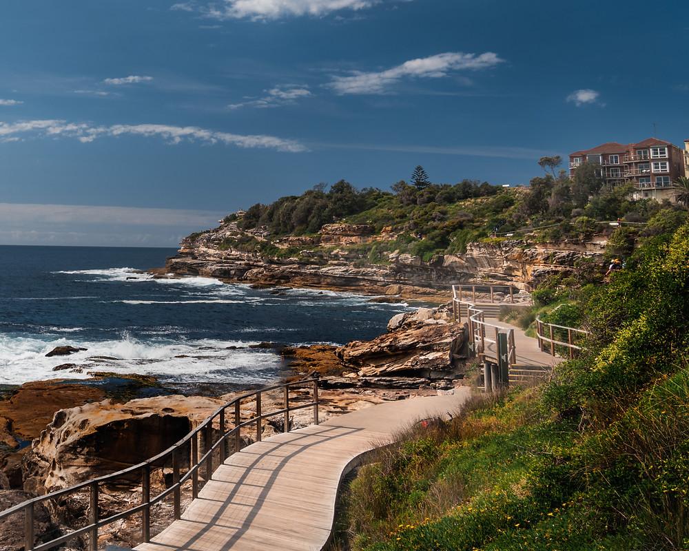 Beach views along the walking path to Bondi Beach