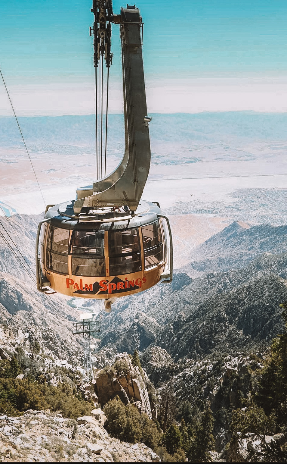Palm Springs Tram coming up the mountain