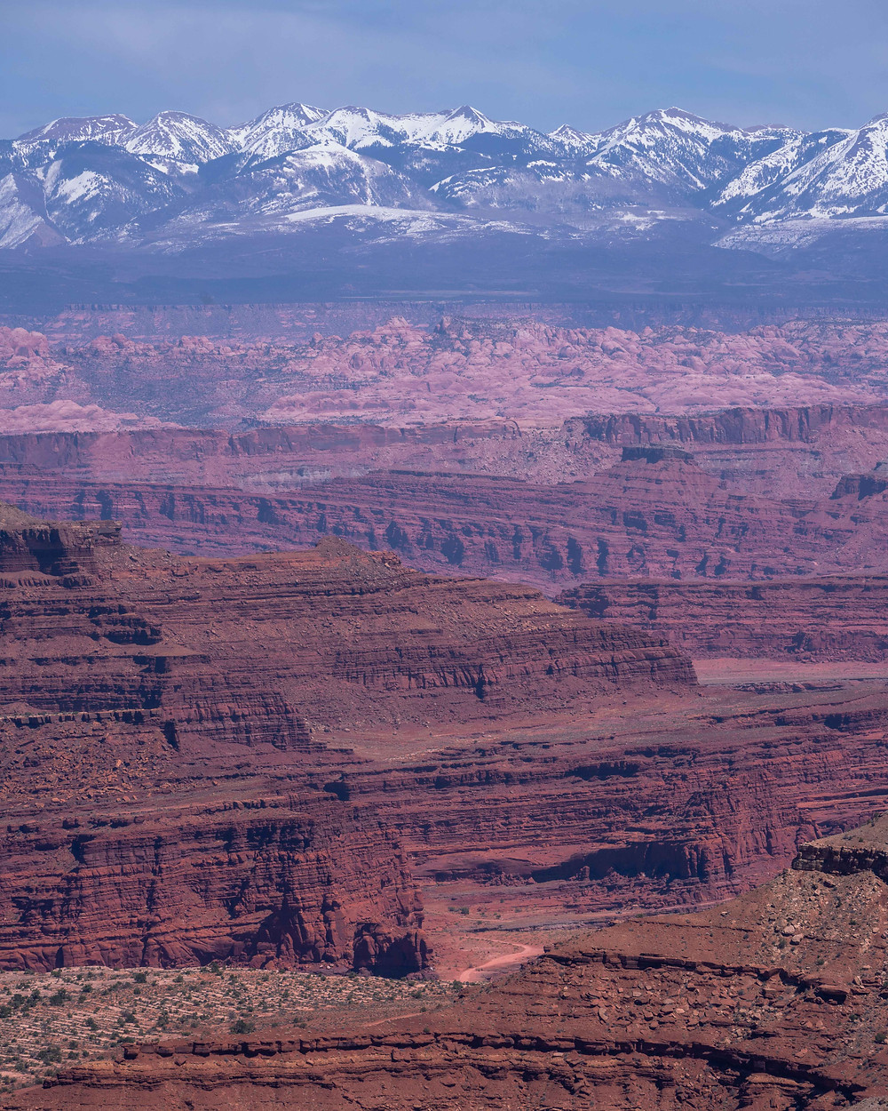 Red and purple canyon cliffs in front of the snow capped mountain range backdrop of Moab