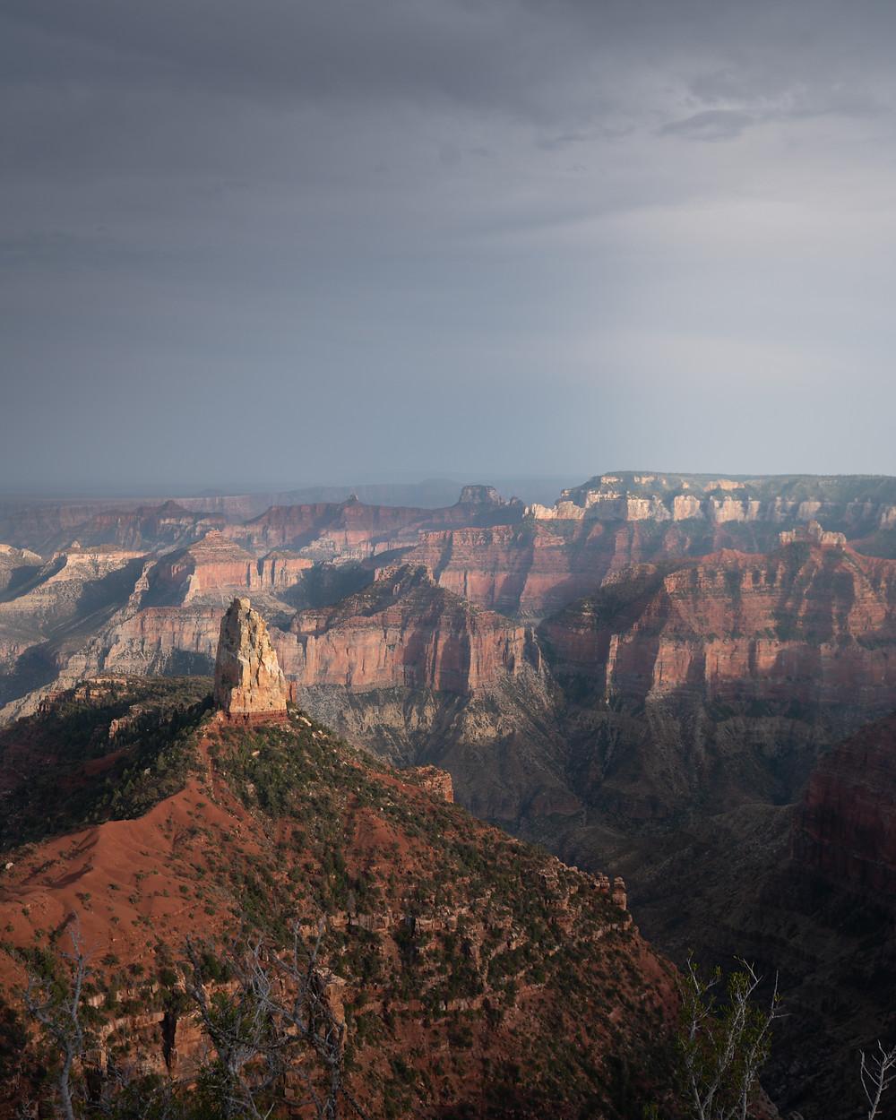 hazy light over the grand canyon north rim