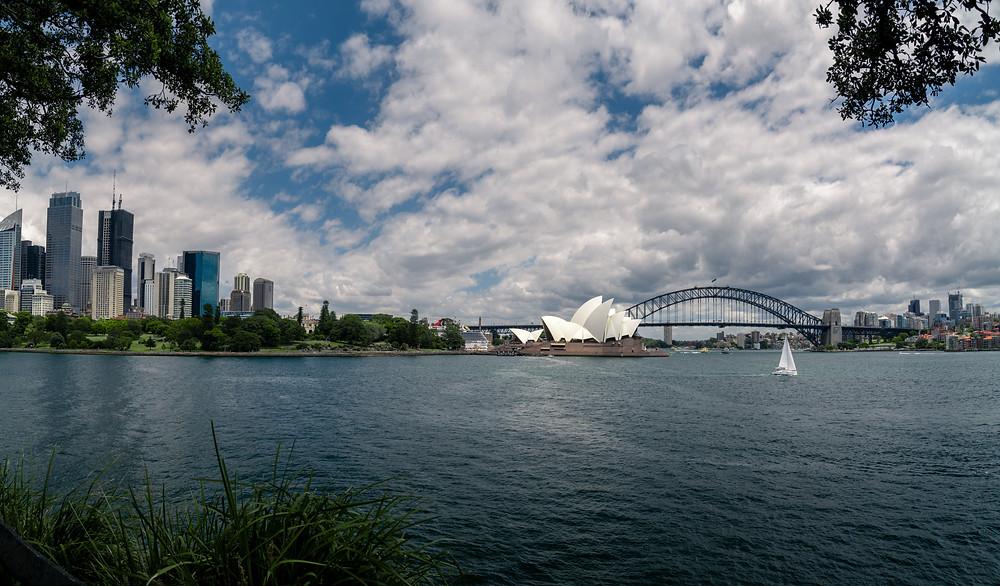 Panorama view of the Sydney Harbor, City, and Bridge