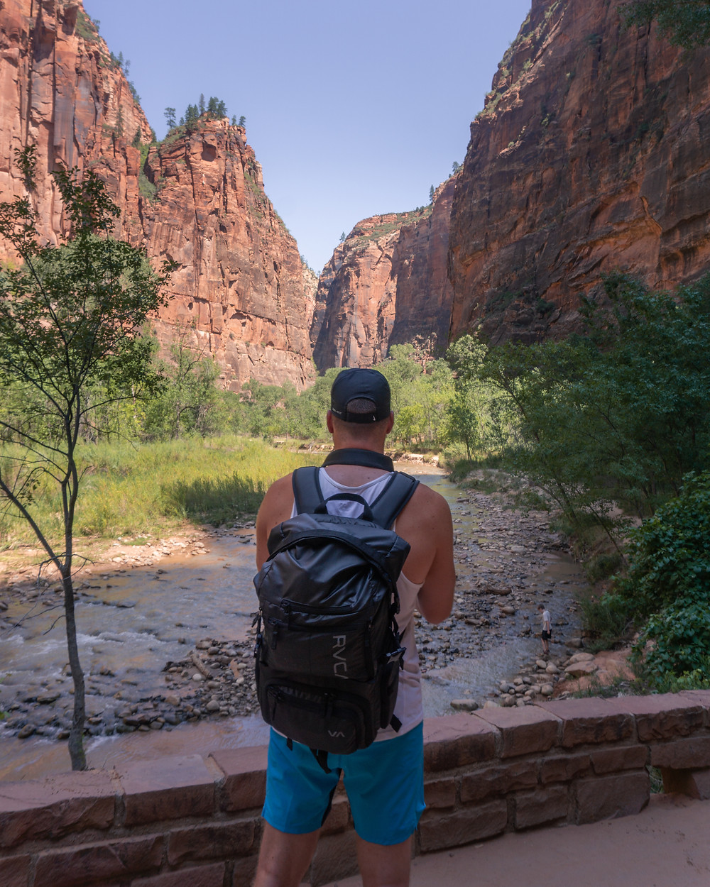Backpacker taking in the views of Zion national park