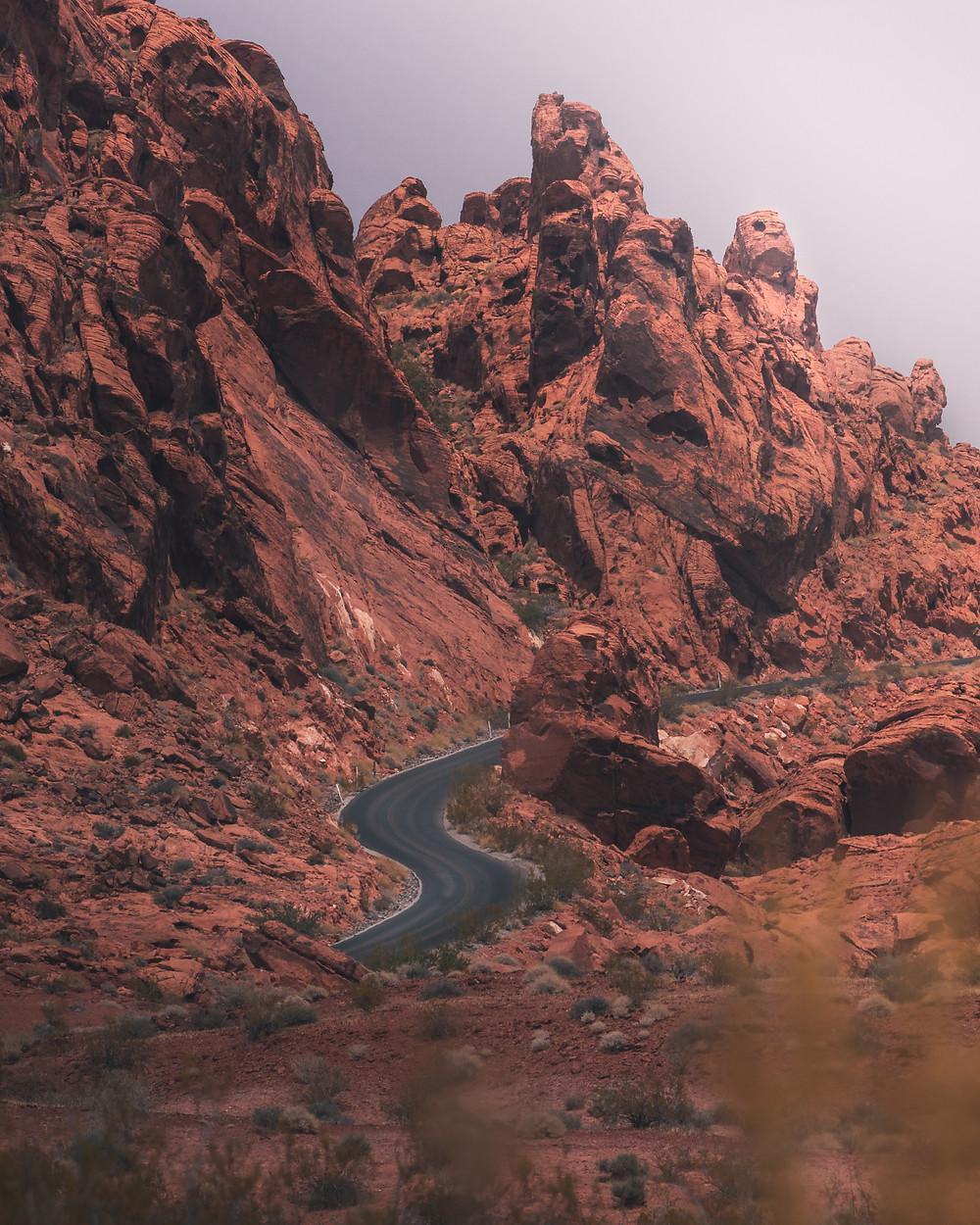 curvy roads through rocky mountains