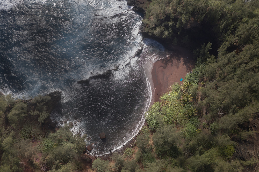 aerial view of the red sand beach in Hana