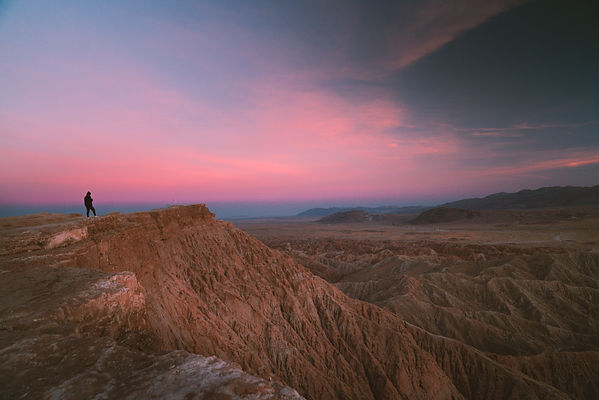 Girl watching the pink desert sunset at Anza Borrego Desert State Park