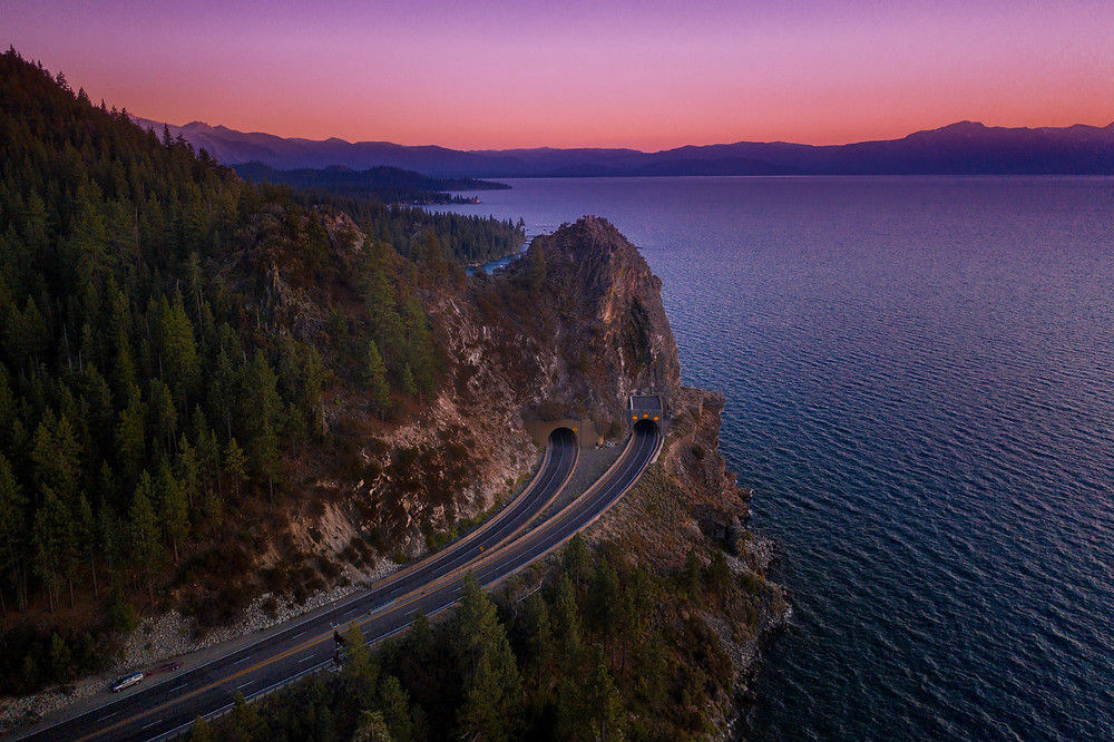 Cave Rock Tunnel at sunset in Lake Tahoe, California