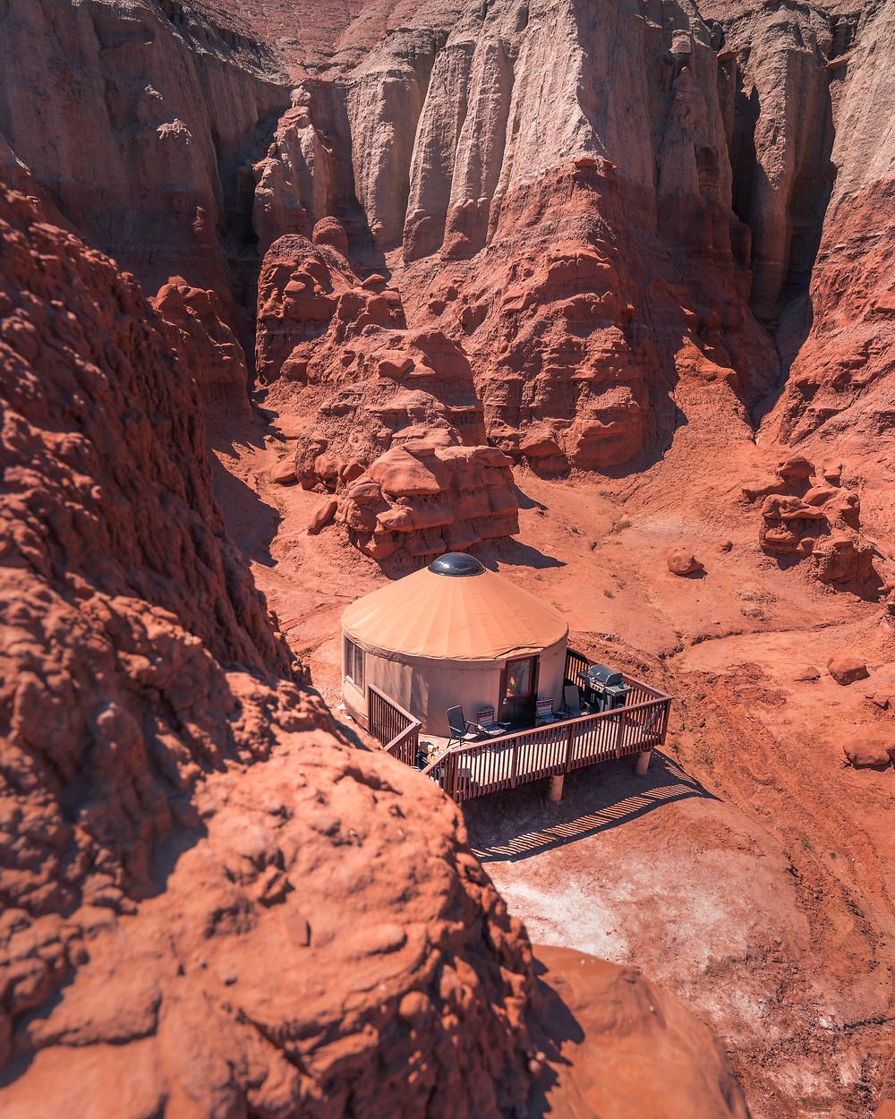 Yurt next to the Red Rock Cliffs in Utah