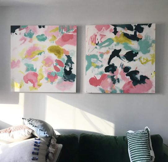 """36"""" x 36"""" dyptique oil paint on wood panels"""