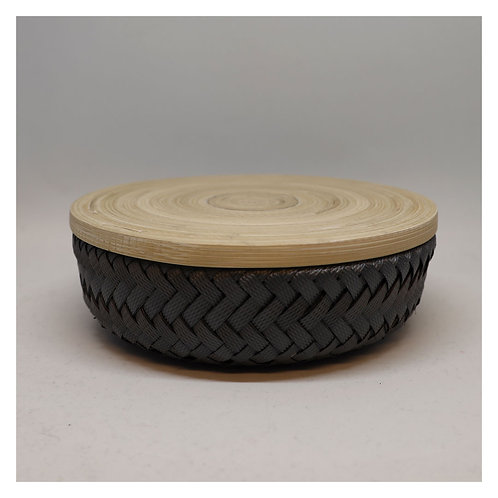 Bamboo Korb mit Deckel XS dark grey