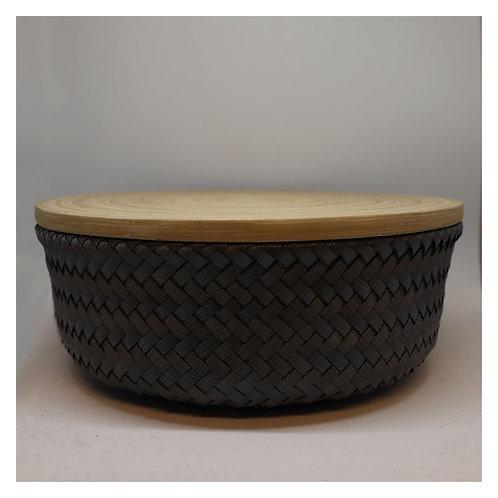 Bamboo Korb mit Deckel M dark grey