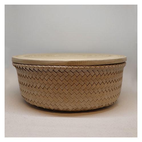 Bamboo Korb mit Deckel M hell