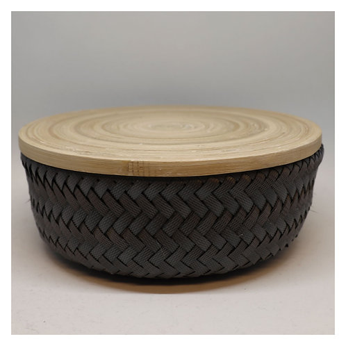 Bamboo Korb mit Deckel S, dark grey