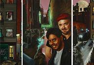Jennifer Campbell Night triptych 8x24 18