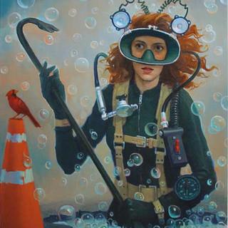 Vincent Calenzo Pothole Diver 2020 oil o