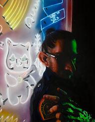 John Lally Gassed- Self portrait in neon