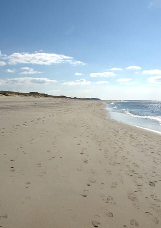 Links Richtung Kampen ein leerer Strand, auch im Sommer