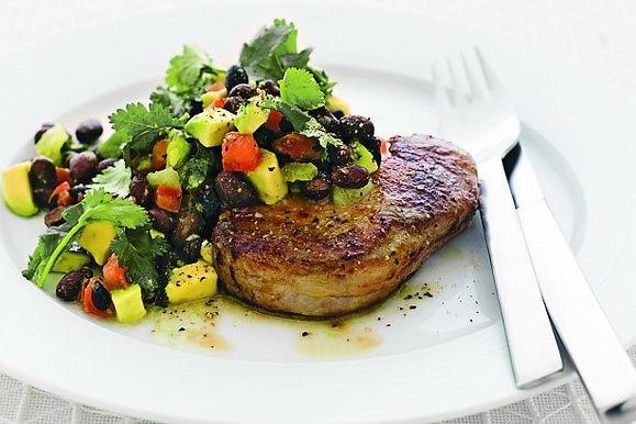 Grilled Pork,  Black Bean & Lime Salad