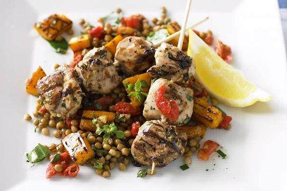 Lemon & Garlic Chicken Skewers, Lentil Salad