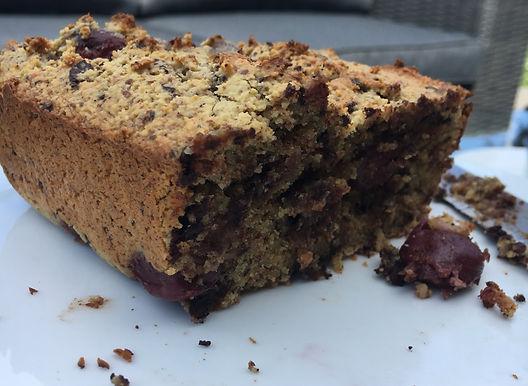 Almond, cherry and dark chocolate cake