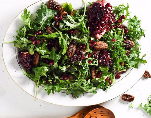 Baby Kale Salad with Pomegranate and Pecans