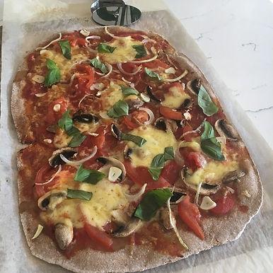 Sourdough whole wheat pizza
