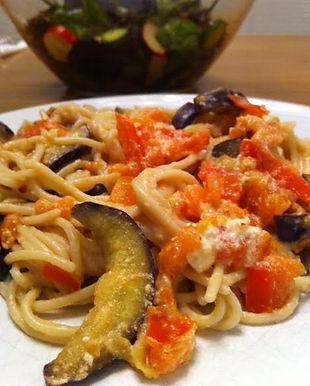 Spaghetti with eggplant & feta cheese